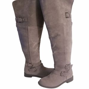 Just Fab Grey Suede EMME Riding Boots